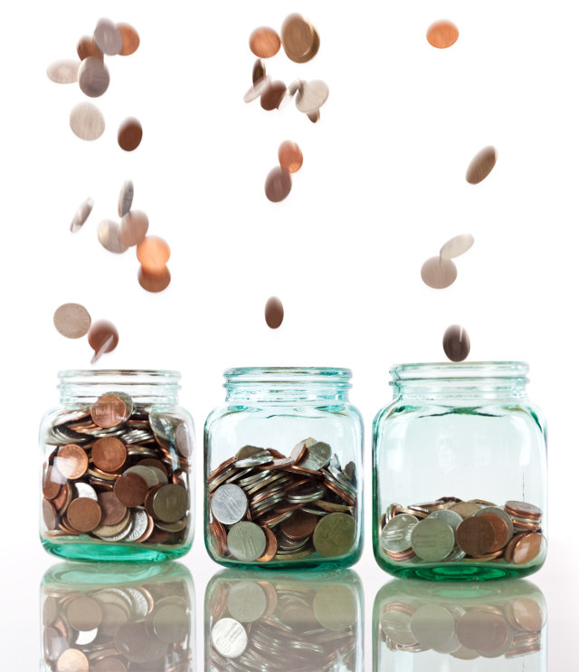Saving coins in a jar